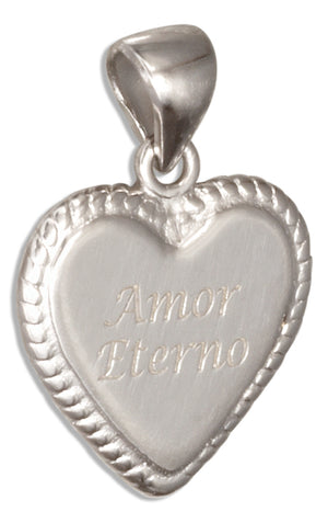 "Sterling Silver ""Amor Eterno"" Heart Pendant Charm"