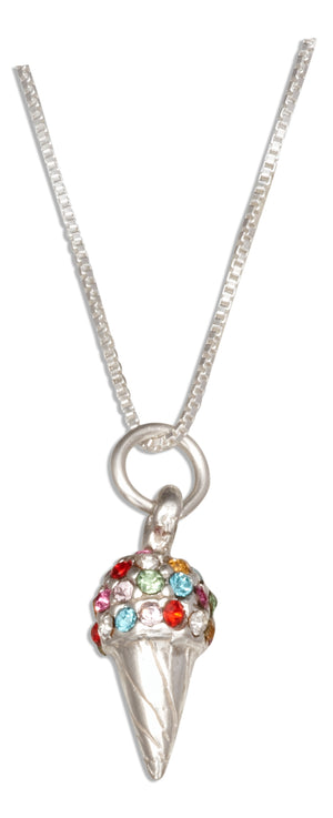 Sterling Silver 18 inch Rainbow Swarovski Crystal Ice Cream Cone Necklace