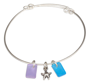 Silver Plated Blue Shades Of Sea Glass Starfish Bangle Bracelet