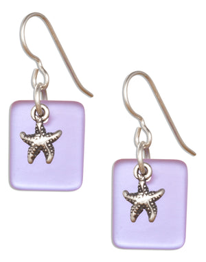 Sterling Silver Shade Of Blue Sea Glass Starfish Dangle Earrings on French Wires