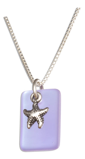 Sterling Silver 18 inch Shade Of Blue Sea Glass Starfish Pendant Necklace