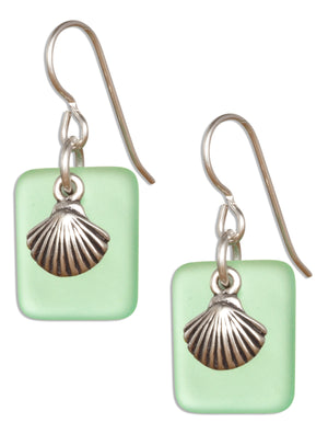 Sterling Silver Seafoam Green Sea Glass Scallop Seashell Dangle Earrings