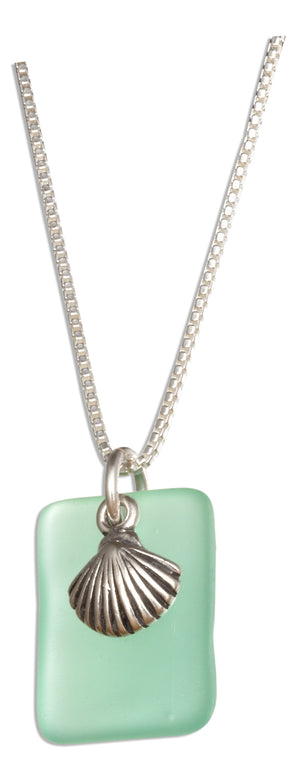 Sterling Silver 18 inch Seafoam Green Sea Glass Scallop Seashell Pendant Necklace