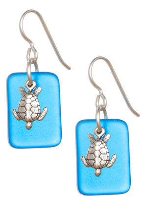 Sterling Silver Ocean Blue Sea Glass Sea Turtle Dangle Earrings