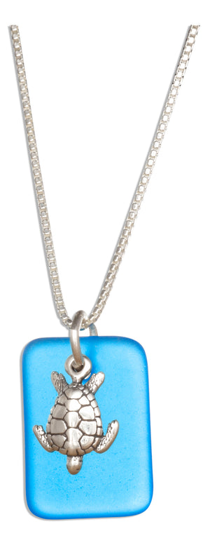 Sterling Silver 18 inch Ocean Blue Sea Glass Sea Turtle Pendant Necklace