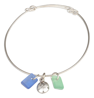 Silver Plated Green and Blue Sea Glass Sand Dollar Bangle Bracelet