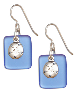 Sterling Silver Cornflower Blue Sea Glass Sand Dollar Dangle Earrings