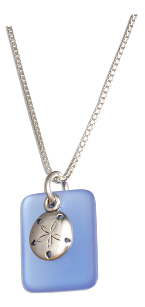 Sterling Silver 18 inch Cornflower Blue Sea Glass Sand Dollar Pendant Necklace