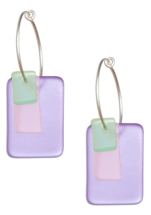 Sterling Silver 21mm Wire Hoop Earrings with Blue, Pink and Green Sea Glass Dangles