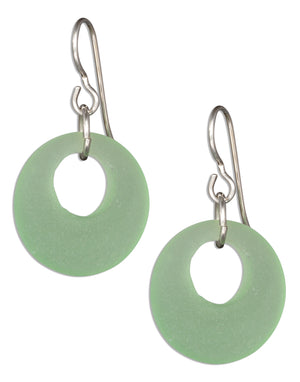 Sterling Silver Green Sea Glass Nova Donut Dangle Earrings on French Wires