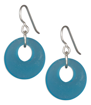 Sterling Silver Turquoise Blue Sea Glass Nova Donut Dangle Earrings on French Wires