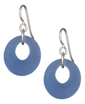 Sterling Silver Cornflower Blue Sea Glass Nova Donut Dangle Earrings on French Wire