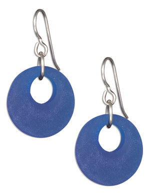 Sterling Silver Cobalt Blue Sea Glass Nova Donut Dangle Earrings on French Wires