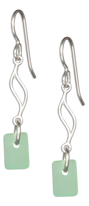 Sterling Silver Seafoam Green Sea Glass Journey Wave Dangle Earrings on French Wire