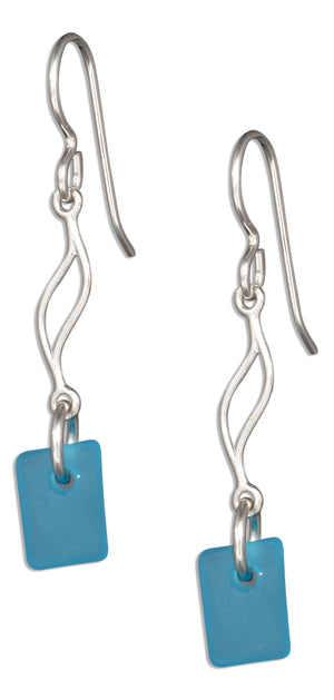 Sterling Silver Ocean Turquoise Blue Sea Glass Journey Wave Dangle Earrings