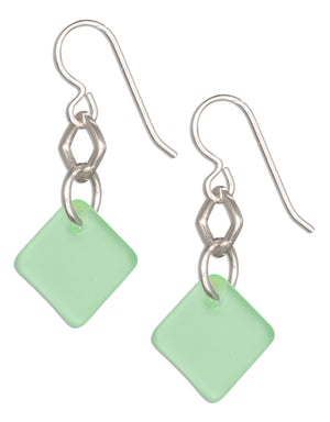 Sterling Silver Seafoam Green Sea Glass Geometric Square Dangle Earrings