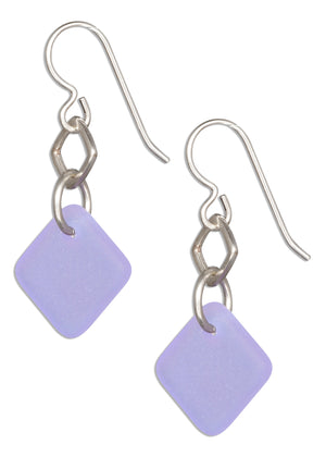 Sterling Silver Lavender Blue Sea Glass Geometric Square Dangle Earrings
