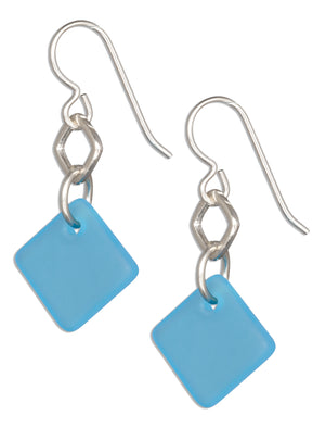 Sterling Silver Ocean Turquoise Blue Sea Glass Geometric Square Dangle Earrings