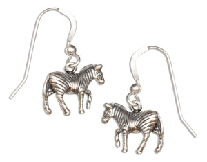 Sterling Silver Dangling Zebra Earrings on French Wires