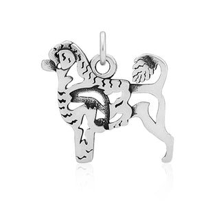 Sterling Silver Portuguese Water Dog Pendant with Lion Cut and Fish in Body