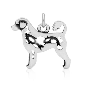 Sterling Silver Portuguese Water Dog Pendant Retriever Cut with Fish in Body