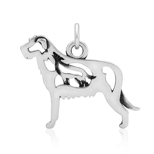 Sterling Silver Irish Wolfhound Dog Pendant with Wolf in Body