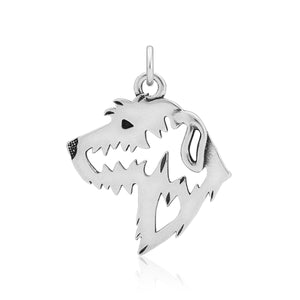 Sterling Silver Irish Wolfhound Dog Head Pendant