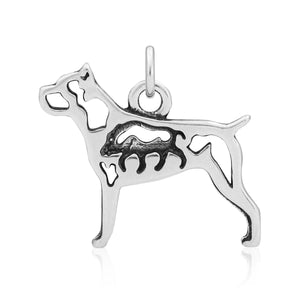 Sterling Silver Cane Corso Dog Pendant with Boar in Body