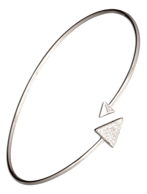 Sterling Silver Double Triangle Arrow Wire Wrap Bangle Bracelet with Pave Cubic Zirconias