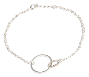 Sterling Silver 7 inch Interlocking Linked Love Circles Bracelet