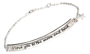"Sterling Silver 7 inch ""I Love You To the Moon and Back"" Id Style Bracelet"