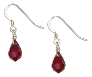 Sterling Silver Cranberry Red January Birthstone Facet Pear Crystal Dangle Earrings