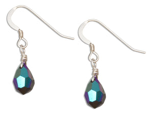 Sterling Silver Purple Iridescent June Birthstone Facet Pear Crystal Dangle Earring