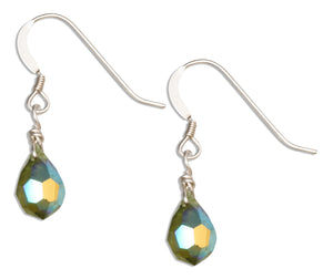 Sterling Silver Deep Green August Birthstone Facet Pear Crystal Dangle Earrings