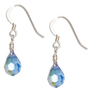 Sterling Silver Blue September Birthstone Faceted Pear Crystal Dangle Earrings