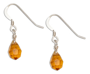 Sterling Silver Yellow Orange November Birthstone Facet Pear Crystal Dangle Earring