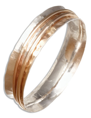 Sterling Silver Concave Hammered Band with Floating 12 Karat Gold Filled Wires Ring