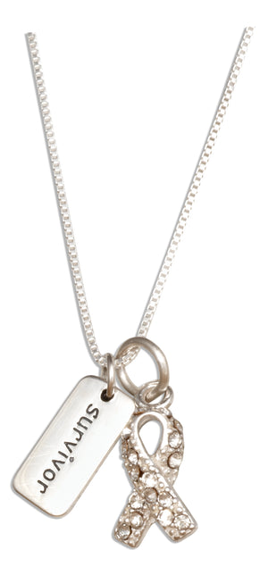 Sterling Silver 18 inch Clear Swarovski Crystals Awareness Ribbon Survivor Necklace