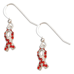 Sterling Silver Red Swarovski Crystal Awareness Ribbon Survivor Earrings