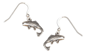 Sterling Silver Antiqued Salmon Fish Earrings on French Wires