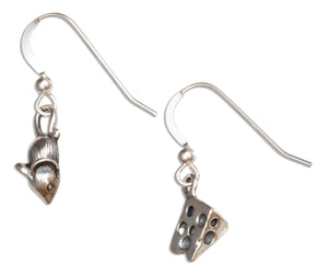 Sterling Silver Mouse and Cheese Wedge Earrings on French Wires