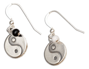 Sterling Silver Chinese Symbol Yin Yang Dangle Earrings with Onyx and Marble Beads