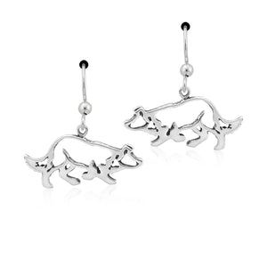 Sterling Silver Crouching Border Collie Dog Earrings on French Wires