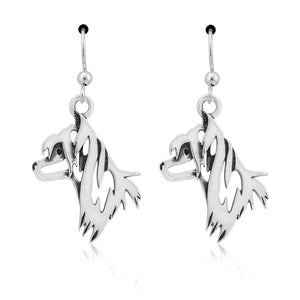 Sterling Silver Chinese Crested Dog Head Earrings on French Wires