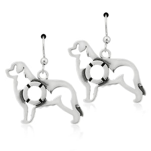 Sterling Silver Newfoundland Dog Earrings with Life Preserver in Body