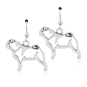 Sterling Silver Pug Dog Earrings on French Wires