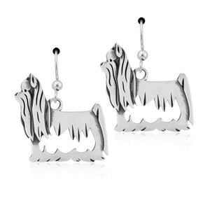 Sterling Silver Yorkie Yorkshire Terrier Earrings with Show Cut Body