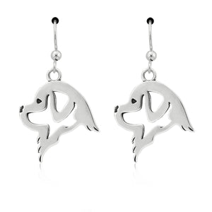 Sterling Silver Newfie Newfoundland Dog Head Earrings on French Wires