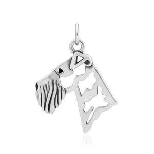 Sterling Silver Airedale Terrier Dog Head Pendant