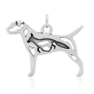Sterling Silver Border Terrier Dog Pendant with Fox in Body